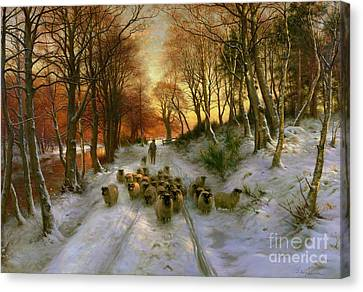Winter Roads Canvas Print - Glowed With Tints Of Evening Hours by Joseph Farquharson