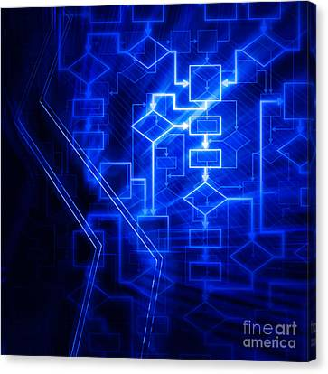 Algorythm Canvas Print - Glowing Blue Flowchart by Oleksiy Maksymenko