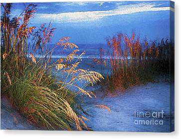 Canvas Print featuring the digital art Glowing Dunes Before Sunrise On The Outer Banks Ap by Dan Carmichael
