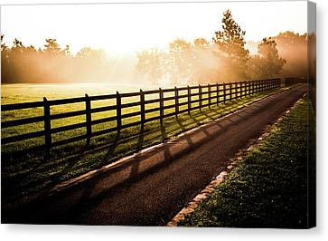 Canvas Print featuring the photograph Glowing Fog At Sunrise by Shelby Young