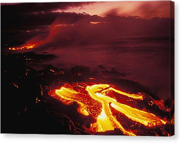 Hawaiian Rock Art Canvas Print - Glowing Lava Flow by Peter French - Printscapes