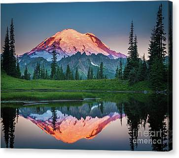 Glowing Peak - August Canvas Print by Inge Johnsson