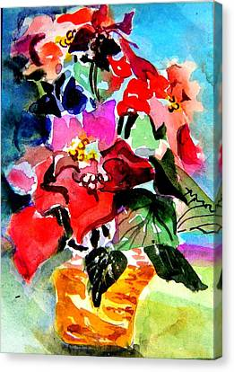 Glowing Poinsettias Canvas Print by Mindy Newman