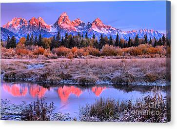Glowing Red Teton Peaks Canvas Print