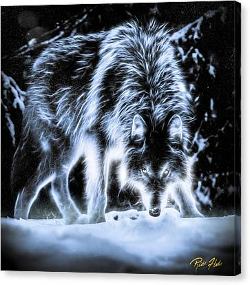 Canvas Print featuring the photograph Glowing Wolf In The Gloom by Rikk Flohr