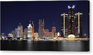 Gm Towers Over Detroit Canvas Print by Frozen in Time Fine Art Photography