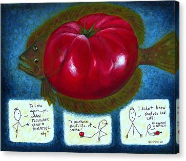 Gmo Tomfoolery Canvas Print by Angela Treat Lyon