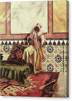 Lute Canvas Print - Gnaoua In A North African Interior by Rudolphe Ernst