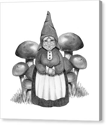 Gnome Lady With Mushrooms Canvas Print by Joyce Geleynse