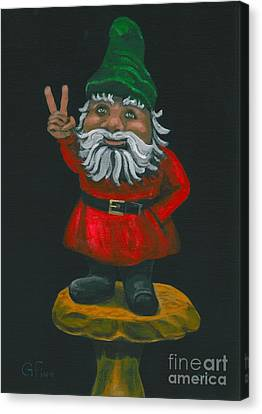Canvas Print featuring the painting Gnome Of Peace by Gail Finn