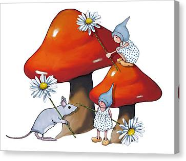 Gnomes And Toadstools Canvas Print by Joyce Geleynse