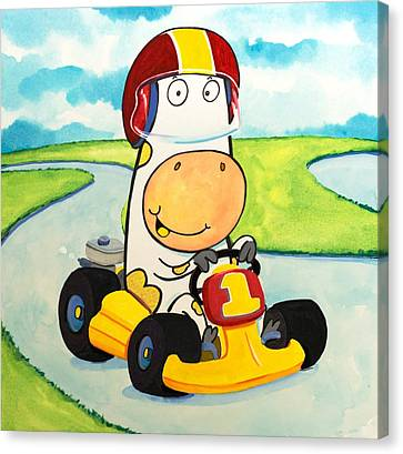 Scott Nelson Canvas Print - Go Cart Cow by Scott Nelson