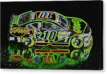 Go Daddy Racing Champion Neon Canvas Print by Bruce Roker