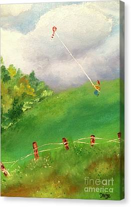 Canvas Print featuring the painting Go Fly A Kite by Denise Tomasura