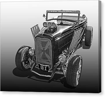 Go Hot Rod In Black And White Canvas Print by Gill Billington