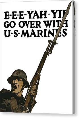 Vet Canvas Print - Go Over With Us Marines by War Is Hell Store