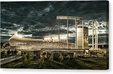 Go Royals - Black And Gold Canvas Print by Tracy Rollins