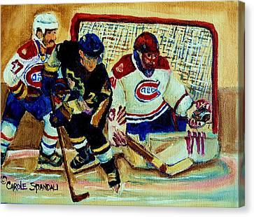 Goalie  And Hockey Art Canvas Print by Carole Spandau