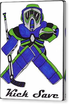 Vancouver Canvas Print - Goalie Blue Green by Hockey Goalie