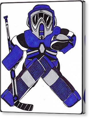 Goalie Blue Canvas Print by Hockey Goalie