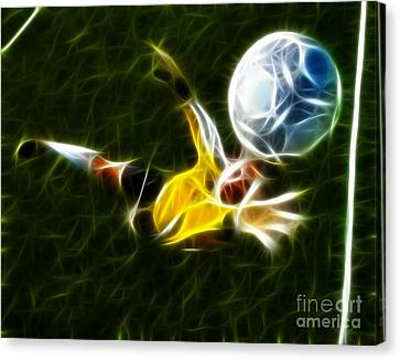 Goalkeeper Canvas Print - Goalkeeper In Action by Pamela Johnson