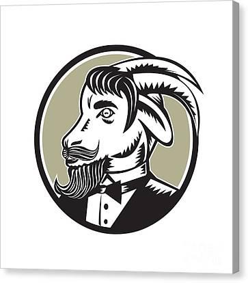 Goat Beard Tuxedo Circle Woodcut Canvas Print