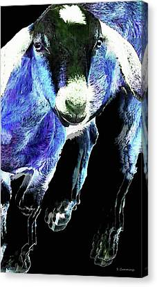 Goat Pop Art - Blue - Sharon Cummings Canvas Print by Sharon Cummings