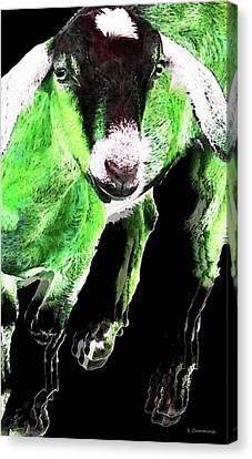 Animal Canvas Print - Goat Pop Art - Green - Sharon Cummings by Sharon Cummings