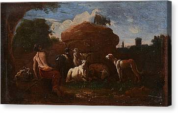 Cattle Dog Canvas Print - Goatherd Resting With Cattle by Philipp Peter Roos