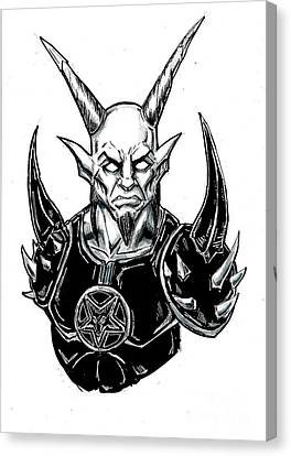Horror Fantasy Movies Canvas Print - Goatlord Armor White by Alaric Barca
