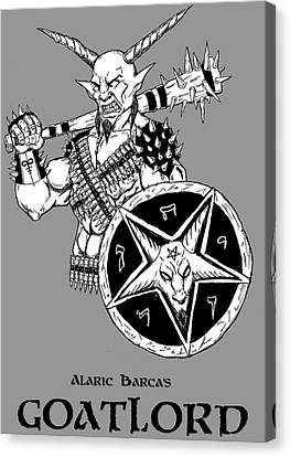 Horror Fantasy Movies Canvas Print - Goatlord Gray by Alaric Barca