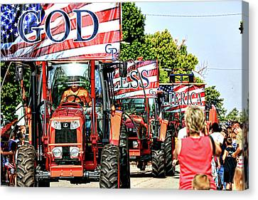 God Bless America And Farmers Canvas Print by Toni Hopper