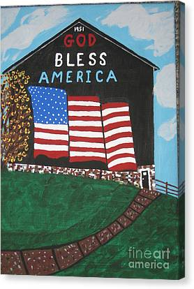 Canvas Print featuring the painting God Bless America Barn by Jeffrey Koss
