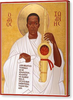 Saint Canvas Print - God Breathes Through The Holy Horn Of St. John Coltrane. by Mark Dukes