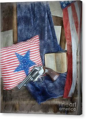 Canvas Print featuring the photograph God, Guns And Old Glory by Benanne Stiens