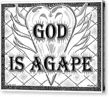Stippling Canvas Print - God Is Love - Agape by Glenn McCarthy Art and Photography