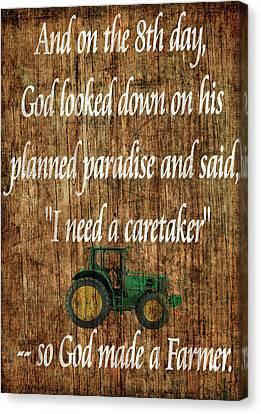 God Made A Farmer Barn Door Canvas Print