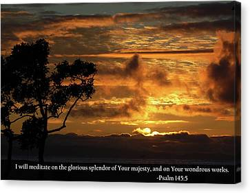 Canvas Print featuring the photograph God Majestically Paints The Sky With Psalm 145-5 Scripture by Matt Harang