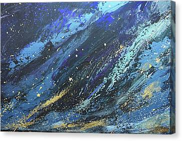 Silver Turquoise Canvas Print - God Moved Upon The Face Of The Waters by Laurie Hein