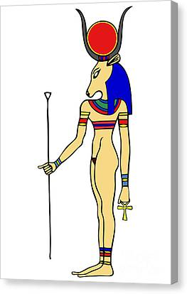 God Of Ancient Egypt - Hathor Canvas Print by Michal Boubin