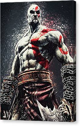 Canvas Print featuring the digital art God Of War - Kratos by Taylan Apukovska