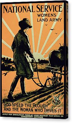 God Speed The Plough And The Woman Who Drives It Canvas Print by American School