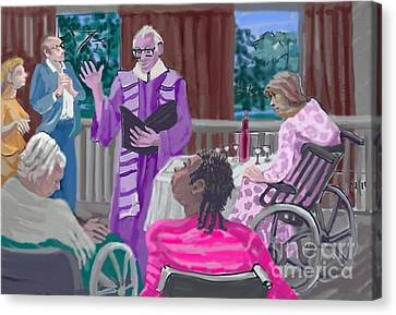 God Visits The Elderly Canvas Print by Shirl Solomon