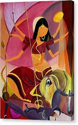 Goddess Durga Canvas Print - Goddess Durga by Amrita M