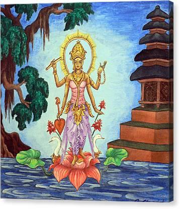 Goddess Saraswati Canvas Print by Alexandra Florschutz