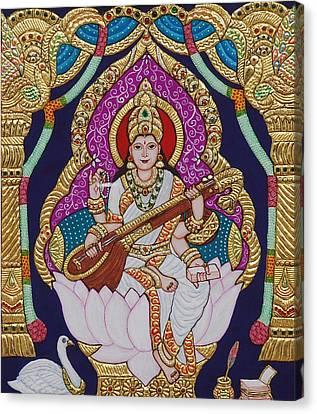 Goddess Saraswati Canvas Print by Vimala Jajoo