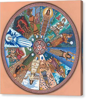 Goddess Durga Canvas Print - Goddess Wheel Wbwoman by James Roderick