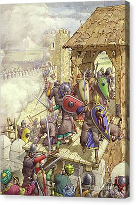 Godfrey De Bouillon's Forces Breach The Walls Of Jerusalem Canvas Print by Pat Nicolle