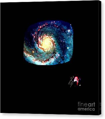 Godhood 2 - Whirlpool Galaxy Canvas Print by Richard W Linford