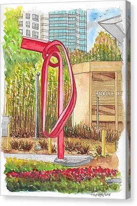 Godot, Sculpture By Bret Price In Century City, California Canvas Print by Carlos G Groppa